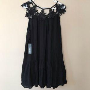 Lulus black crochet shoulders black dress